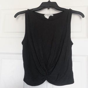 Black tank top from Gaze with twist at the bottom.